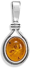 Antiqued Sterling Silver Amber Pendant