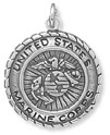 United States Marine Corps Medallion Charm in Sterling Silver