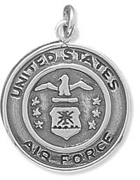 United States Air Force Medallion Charm in Sterling Silver
