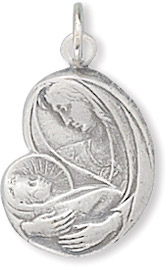 Virgin Mary with Baby Jesus Charm in Sterling Silver