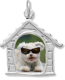 Sterling Silver Dog House Picture Frame Pendant
