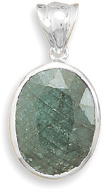 Rough-Cut Oval Emerald Pendant in Sterling Silver