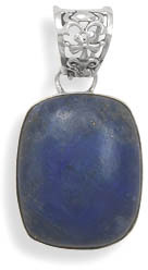 Large Lapis and Sterling Silver Pendant