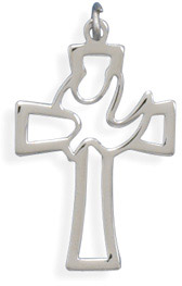 Cut Out Cross Pendant with Dove in Sterling Silver