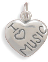 Antiqued Sterling Silver 'I Love Music' Charm