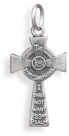 23rd Psalm Cross Pendant in Sterling Silver