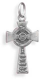 Psalm 23 Cross Pendant in Sterling Silver