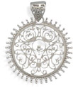 Ornate Filigree Sterling Silver Disc Pendant