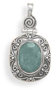 Rough-Cut Emerald Pendant in Sterling Silver