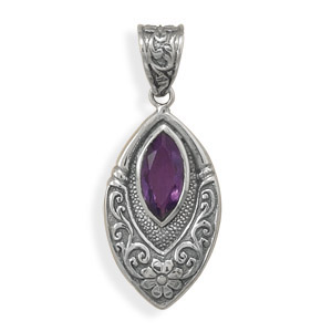 Marquise Amethyst Pendant in Sterling Silver
