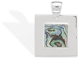 Square Inlay Abalone Shell Sterling Silver Pendant