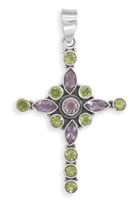 Amethyst and Peridot Cross Pendant in Sterling Silver