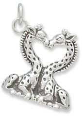 Sterling Silver Heart Shaped Giraffe Charm