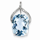Large 16x12mm Bue Topaz and Diamond Pendant in 14K White Gold