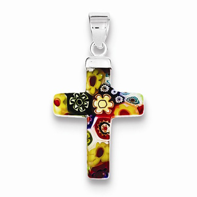 Multi-Colored Glass Flower Cross Pendant in Sterling Silver