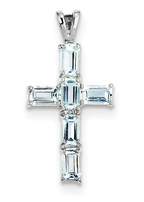 Sterling Silver and Baguette Cut Aquamarine Cross Pendant