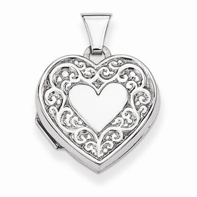 Sterling Silver Paisley Heart Locket