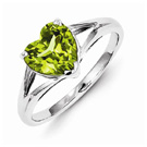 Heart Shaped Peridot Ring in Sterling Silver