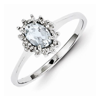 Sterling Silver Oval Aquamrine and Diamond Ring