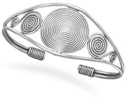 Spiral Coil Design Cuff Bracelet, Sterling Silver