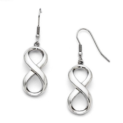Stainless Steel Polished Infinity Earrings