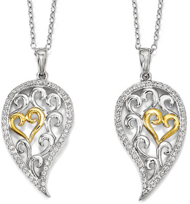 With You Always Sterling Silver Necklace for Two