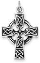 Sterling Silver Antique-Finished Celtic Pretzel Design Cross Charm