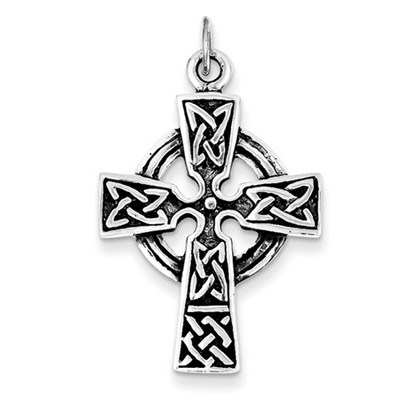 Sterling Silver Antique-Finished Celtic Pretzel Design Cross Charm