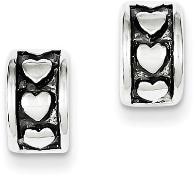 Antique Heart Post Hoop Earrings in Sterling Silver