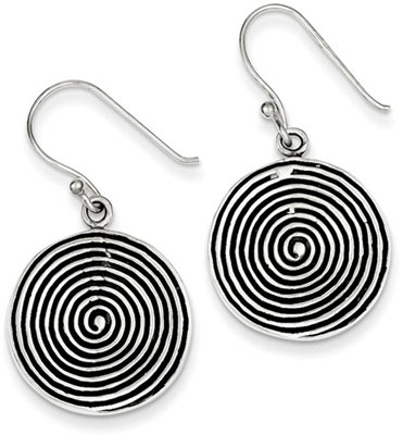 Antiqued Spiral Earrings in Sterling Silver