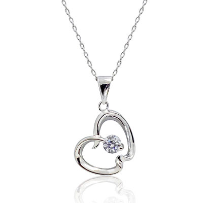 Sterling Silver Apple Pendant with CZ Accent