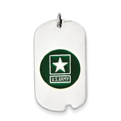 US Army Sterling Silver Dog Tag Necklace with Enamel