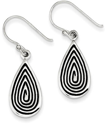 Textured Sterling Silver Teardrop Design Earrings