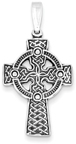 Embroidered Celtic Weave Cross Necklace in Sterling Silver