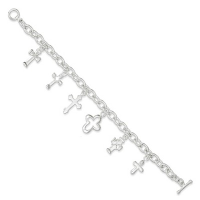 Sterling Silver Multistyle Cross Charm Bracelet