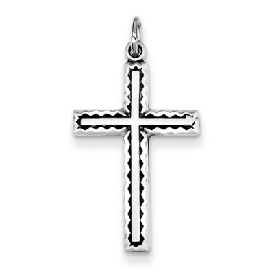 Sterling Silver Zig-Zag Border Cross Pendant