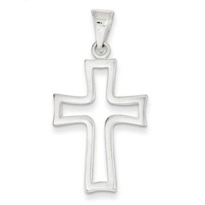 Sterling Silver Outlined Cross Pendant