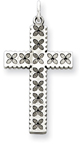 Laser-Etched Floral Sterling Silver Cross Pendant
