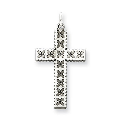 Laser-Etched Floral Sterling Silver Cross Pendant