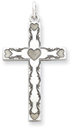 Five-Hearts Sterling Silver Cross Necklace