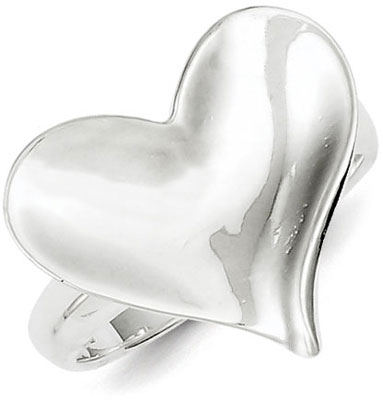 Sterling Silver Satin Finish Heart Ring