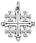 Polished Sterling Silver Jerusalem Cross Pendant