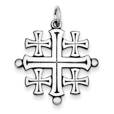Polished sterling silver jerusalem cross pendant aloadofball Images