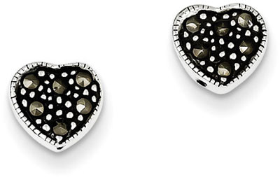 Marcasite Heart Earrings in Sterling Silver