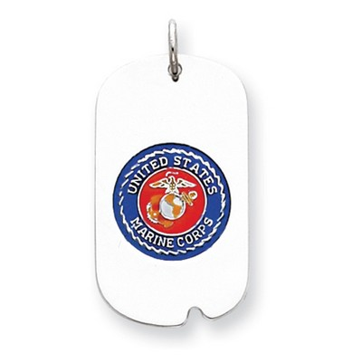 Marine Corps Sterling Silver Dog Tag Necklace with Enamel