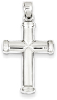 Polished Rhodium-Plated Reversible Cross Necklace in Sterling Silver