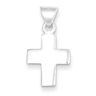 Polished Sterling Silver Solid Christian Cross Necklace