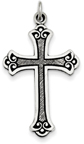 Stylized and Antiqued Budded Scroll Cross, Sterling Silver