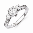 Three Stone Cubic Zirconia Engagement Ring in Sterling Silver