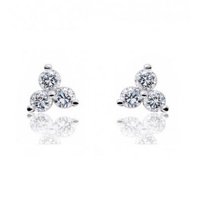 Three Stone Trinity Cz Stud Earrings In Sterling Silver
